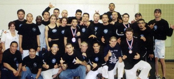 Ralph Gracie's Competition Team in 1999 Mikyo 6th from the right, Dave Camarillo 5th from the right
